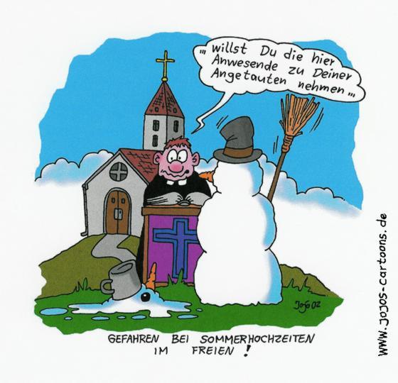 Im sommer - cartoon: hochzeit von schneemännern im sommer